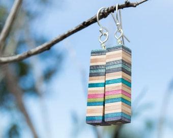 The Pillar Handmade Recycled Skateboard Earrings