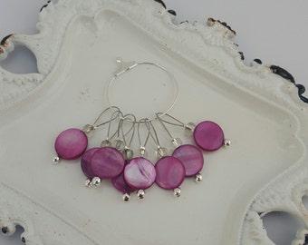 Pink glass bead knitting stitch markers