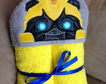 Yellow Robot Hooded Towel - Bumblebee Inspired Towel - Autobots - Transformers - Robots
