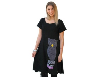 Black Owl tunic / Organic Cotton Owl tunic / asymmetric women tunic / short sleeves summer dress / one size loose tunic