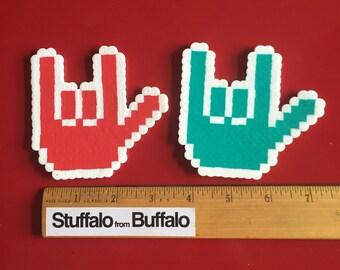 Set of 2 american sign language asl I love you perler mangets