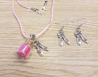 Ballet Powder Set of Necklace and Earrings