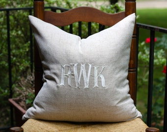Monogrammed Linen Pillow Cover - Wedding Pillow Pillow - Monogrammed