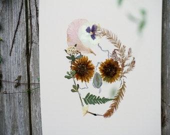 Hand-Pressed Floral Skull