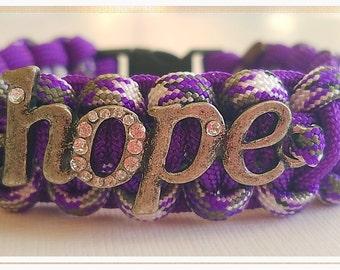 Hope Bracelet, Lupus awareness bracelet, Epilepsy awareness bracelet,Pancreatic, Fibromyalgia bracelet, Purple bracelet, Purple jewelery