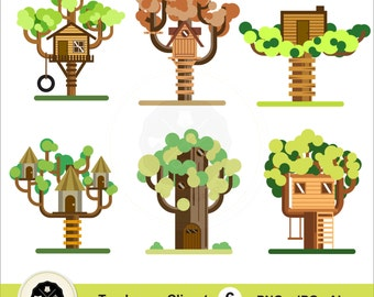 Treehouses Clipart,house clipart,tree clipart,tree houses vector,digital download