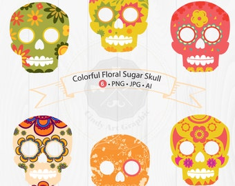 Colorful Floral Sugar Skull Clipart,day of the dead,sugar skull clipart,digital download