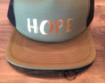 Hope Trucker Hat in Olive