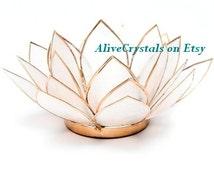 White Lotus Flower Votive Candle Holder Centerpiece, Tea Candle Holder, Decorative Candle Holders for Wedding, Home Decor, Chakra Meditation