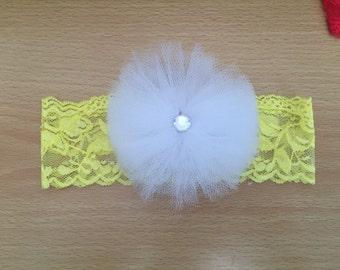 Infant Headband, Tulle Flower, Lace Headband,