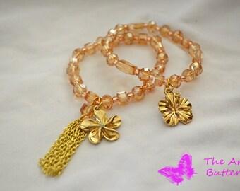 Beaded Charm Tassel Bracelet