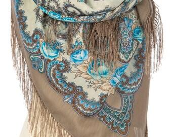 Russian, Authentic, Original, Pavlovo Posad Shawl, Scarf 100% Wool (Silk Fringe)