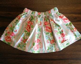Girls Pink and Aqua Floral Gathered Waist Skirt