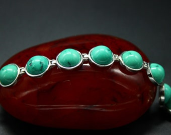 Retro Chinese Natural Turquoise  Chain Bracelet with 925 Sterling Silver Chain and Clasp