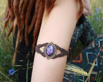macrame bracelet brown violet-macrame bracelet brown violet