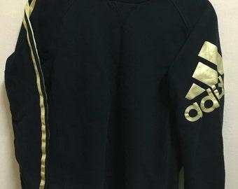 Vintage 90's Adidas Trefoil Black Glod 3 Stripes Sport Classic Design Skate Sweat Shirt Sweater Varsity Jacket Size M #A155