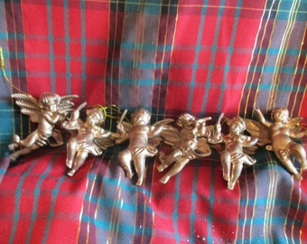 Six Vintage Gold Resin Musical Cherubs Christmas Ornaments