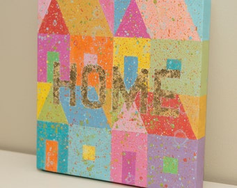 ORIGINAL painting on canvas, gold leaf, wall art, home decor, house, colorful, housewarming gift, to benefit Syrian Refugees