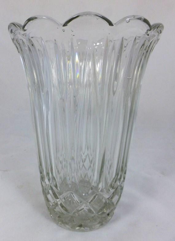 Large Vintage Lead Crystal Glass Vase