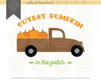 Cutest Pumpkin in the Patch Truck, Boy Pumpkin, Fall, Pumpkin truck svg, eps, dxf, png file, Silhouette, Cricut