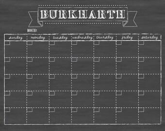 "Dry erase calendar 24""x18"" CUSTOM DESIGN / menu planner / wall calendar #18.S2.H"