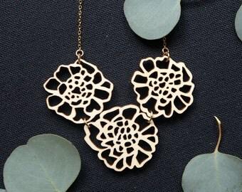 The Doris - Candytuft Flower Necklace - Laser Cut Flower Necklace - Statement Piece - Wooden Flower Necklace