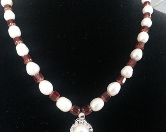 Genuine freshwater pearl necklace with garnet red Czech glass beads.
