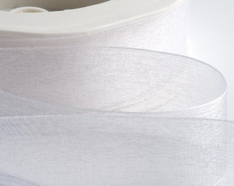 Full Reel Woven Edge Organza Ribbon Ribbon 7mm, 15mm, 25mm, 38mm - White