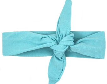 Teal/ Aqua/ Light Blue Top Knot Headband