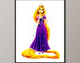 Tangled Movie Art, Rapunzel Print,  Disney Art, Nursery Art, Tangled Wall Art, Rapunzel Art, Disney Nursery Art, Tangled Disney, Nursery