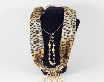 SilkPanther Scarf With Gold Jewelry
