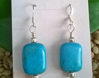 Turquoise Blue Magnesite Drop Earrings, Blue Stone Earrings, Healing Jewelry, Chakra Jewelry, Southwest Jewelry, Boho style, Mothers Day
