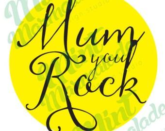 Greeting Card, Mum you Rock, Digital Download