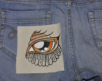 unique hand painted pocket patch, eco friendly, up-cycled, illustrated eye patch, shell eye patch, scrap-booking  and crafting scrap