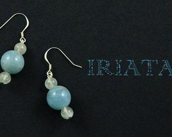 Aquamarine, Moonstone sterling silver earrings