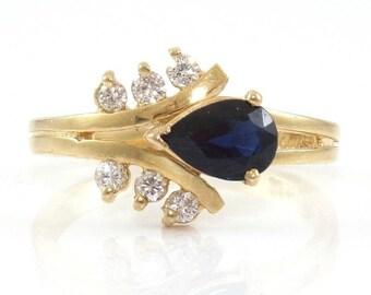 14K Yellow Gold Natural Blue Sapphire Diamond Ring Size 6.5