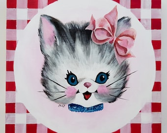 Retro cat with bow