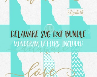 Delaware Svg Dxf Bundle svg fonts svg monogram frames files for silhouette svg files for cricut svg files svg mermaid pattern vinyl design