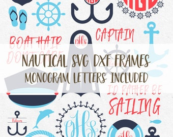 Nautical Svg Monogram Frames Summer svg Nautical Files Anchor Svg monogram svg Silhouette Cricut Svg Files Summer Svg Designs Beach vinyl