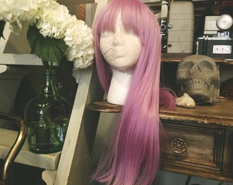 Lilac Wine Wig with Bangs