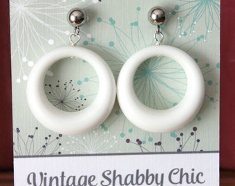 Handmade repro white loop earrings