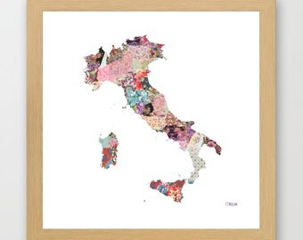 ITALIA MAP, flowers composition, roses, Giclee Fine Art, Poster Print