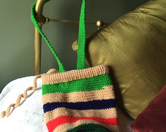 Tan Striped Drawstring Crocheted Shoulder Bag