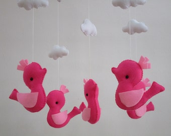 Free Shipping! Ready to Ship!Baby Mobile, Baby crib mobile, Baby felt mobile, Baby nursery mobile, Baby Bird mobile, Baby Pink Bird Mobile