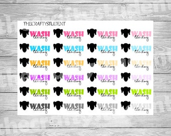 Wash the dog planner stickers