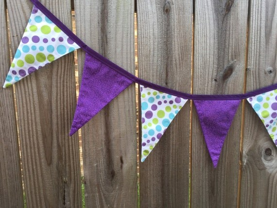 Fabric bunting banner purple and polka dot nursery decor for Purple nursery fabric