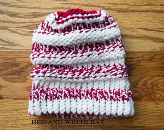 Loom Knit Red and White Slouch Hat