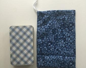 Blue, floral tarot card bag