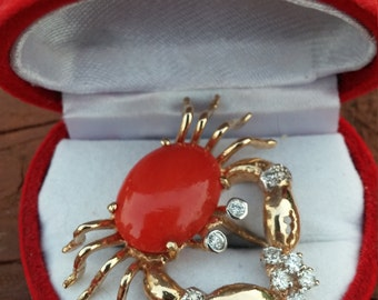 14k Gold Diamond Red Coral Crab Pendant