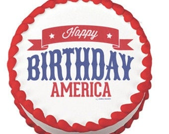 Happy Birthday America     edible image cake topper
